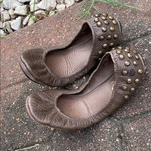 Juicy Couture Brown Leather Studded Elastic Flats